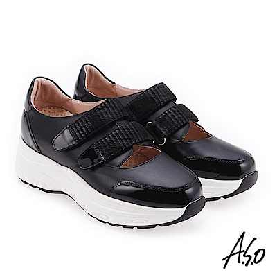 A.S.O 時尚彈力 真皮舒適魔鬼氈休閒鞋 黑