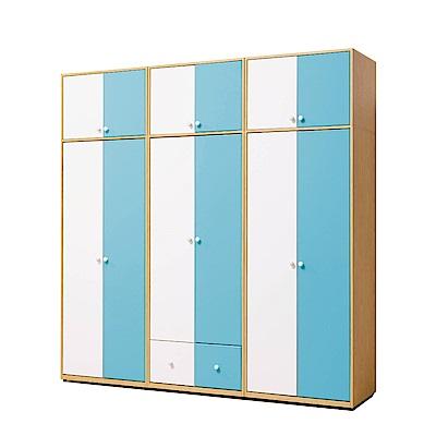文創集 波蒂莉7.6尺雙色加高衣櫃(吊衣桿+抽屜+被櫥櫃)-228x56.5x236-免組