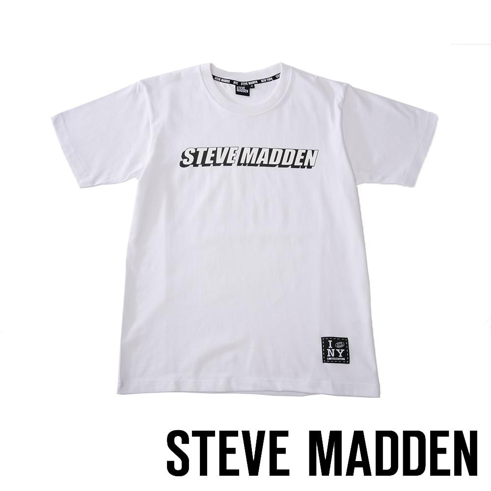 STEVE MADDEN-純棉品牌立體造型LOGO T-Shirt 短袖上衣-白色