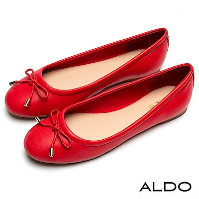 ALDO 原色真皮鞋面佐金屬蝴蝶結娃娃鞋~名媛紅色