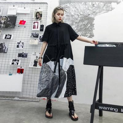 個性黑白色系抽繩襯衫寬鬆洋裝-F-CLORI