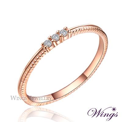 Wings 星空 纖細美麗的優雅 精鍍玫瑰金戒指 尾戒