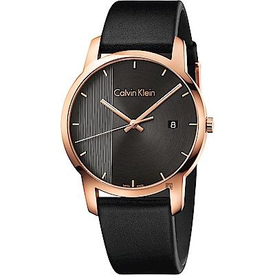 Calvin Klein CK City 都會系列手錶-黑x玫瑰金框/43mm