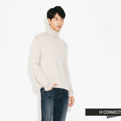 H:CONNECT 韓國品牌 男裝-純色高領針織上衣-米色(快)