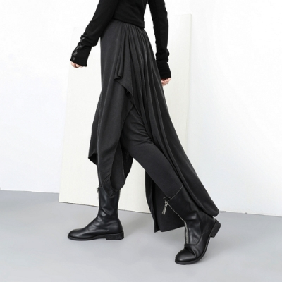 個性龐克風假兩件不規則內搭褲裙-F-CLORI