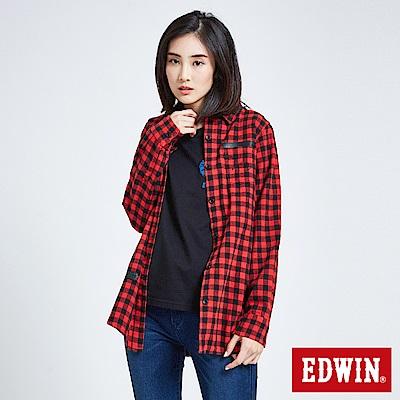 EDWIN 搖滾不死英式格紋襯衫-女-紅色