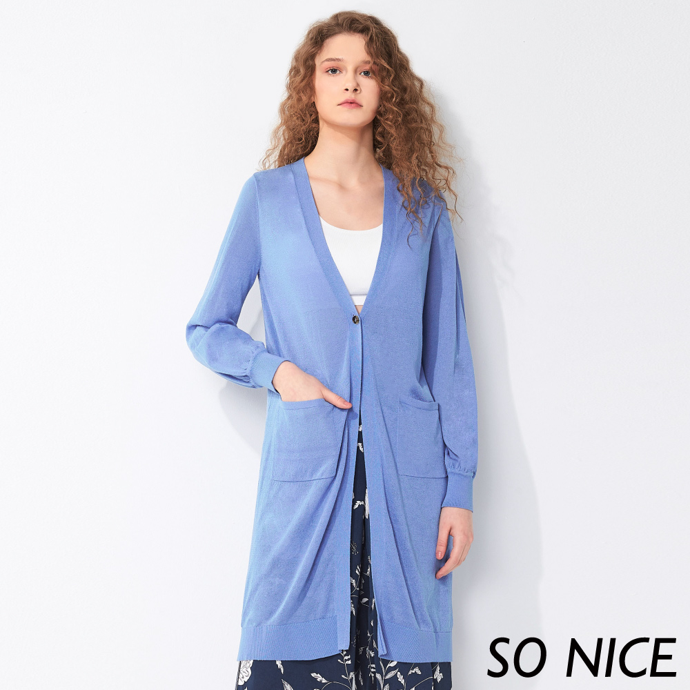 SO NICE亮麗金屬釦長版針織外套 product image 1