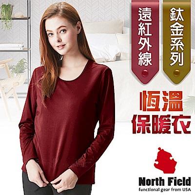North Field 女 鈦金 遠紅外線+膠原蛋白圓領控溫內刷毛保暖衛生衣_赤紅