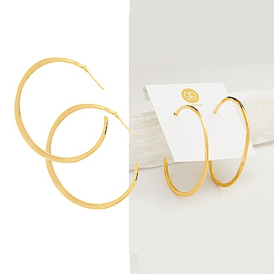 GORJANA 美國品牌Arc Large Hoops大C型耳環 925純銀鑲18K金