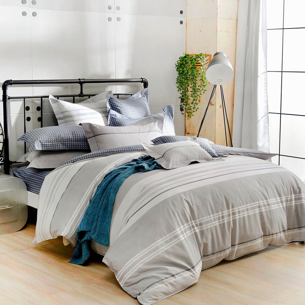 義大利La Belle 雙人純棉防蹣抗菌吸濕排汗兩用被床包組-城市日光