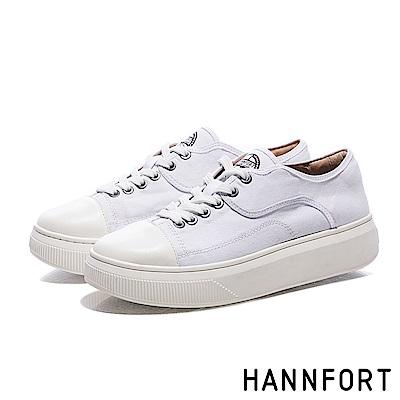 HANNFORT CAMPUS PLATFORM復古車線帆布厚底休閒鞋-女-白
