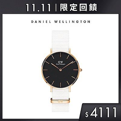 DW 手錶 官方旗艦店 32mm玫瑰金框 Petite 純淨白x黑織紋手錶