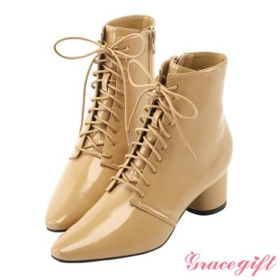 Grace gift X Rui-聯名綁帶尖頭中跟短靴 卡其