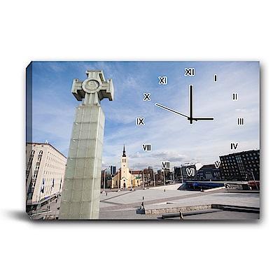 美學365-單聯式橫幅 掛鐘無框畫-歐式風格-60x40cm