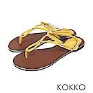 KOKKO  - 波希米亞細帶真皮夾腳平底涼鞋 - 芒果黃