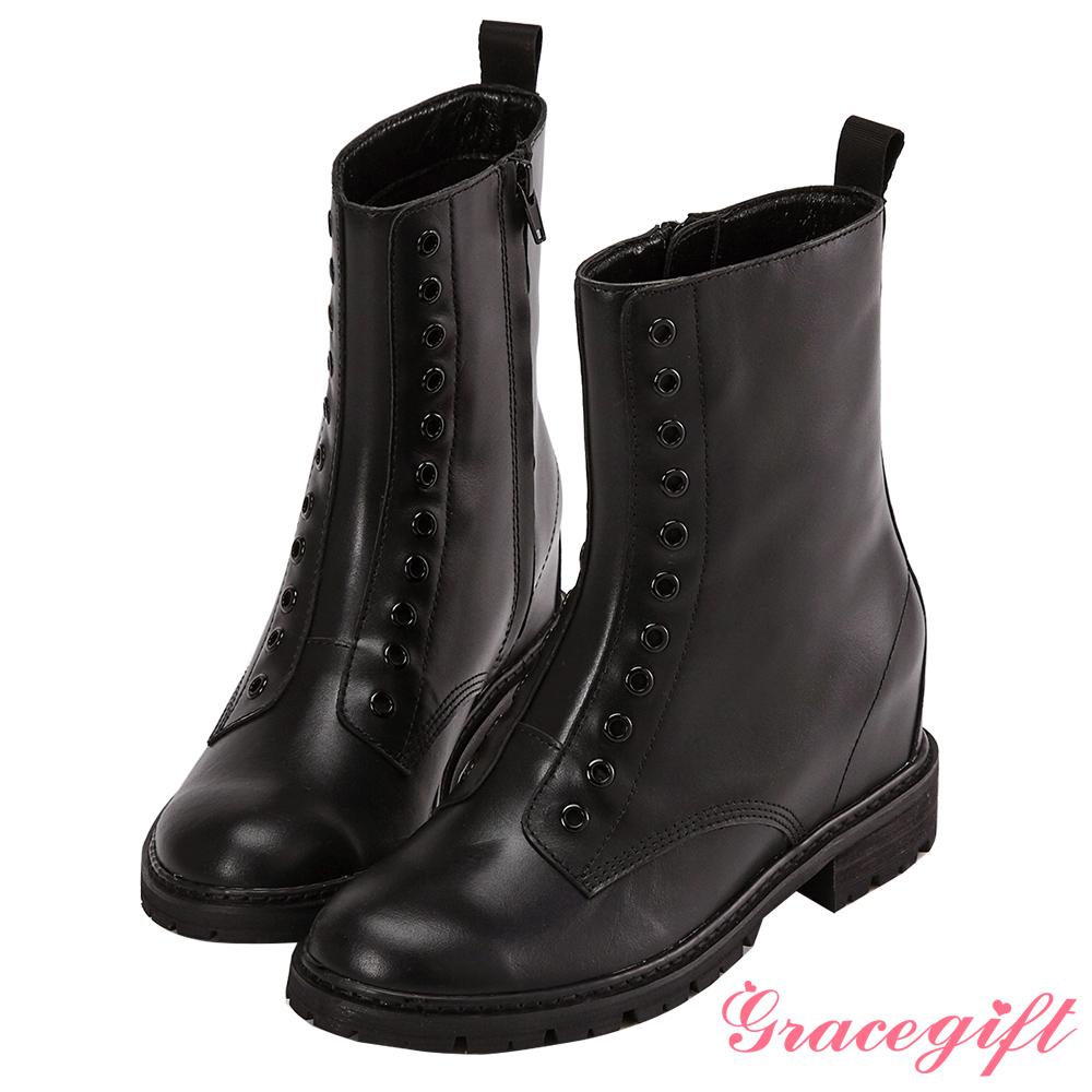 Grace gift X Wei唐葳-牛皮鞋孔內增高短靴 黑