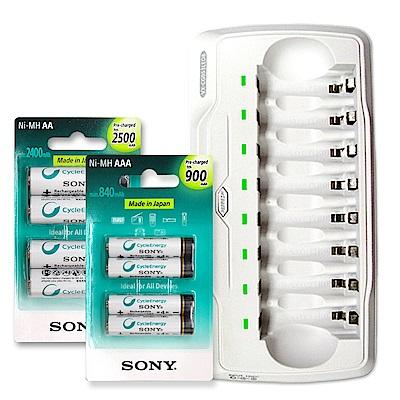 VXTRA8通道充電器+Sony2500mAh3號充電電池+900mAh4號充電電池各4顆