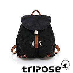 tripose MEMENTO系列微皺尼龍輕量防潑水後背包-大(黑)