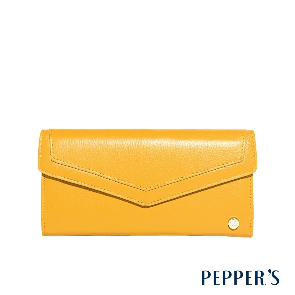 PEPPER'S Doris 牛皮掀蓋長夾 - 檸檬黃