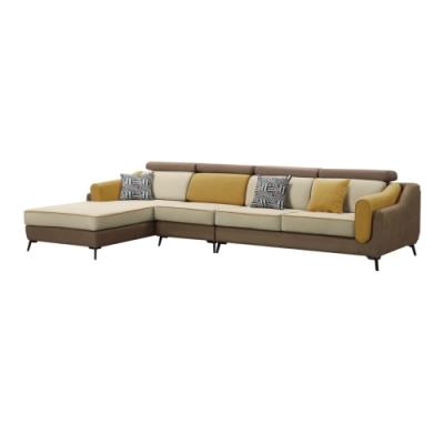 文創集 華盛頓   現代科技布料獨立筒L型沙發椅組合(左&右二向可選)-340x183x81-97cm免組