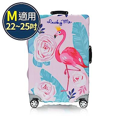 旅遊首選 行李箱套 防塵套 保護套 加厚高彈性伸縮 箱套 M號(紅鶴)