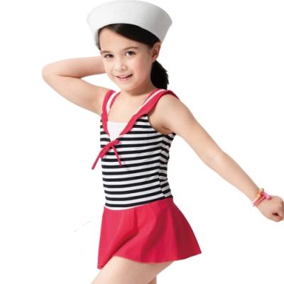 沙兒斯 兒童泳裝 黑白橫紋水手造型連身裙式女童泳裝