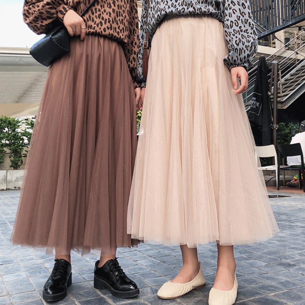 La Belleza素色鬆緊腰圍拼接網紗百摺蓬蓬裙長紗裙