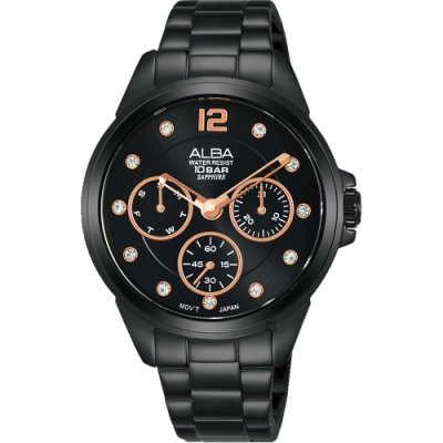 ALBA雅柏 情人最愛是妳晶鑽日曆女錶(AP6641X1)-鍍黑/36mm