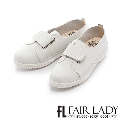 Fair Lady Soft Power軟實力時髦雅緻金屬扣飾皮質休閒鞋 白