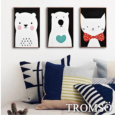 TROMSO 北歐生活版畫有框畫-俏皮動物園WA55(三幅一組)