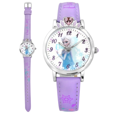 Disney 迪士尼 冰雪奇緣 Elsa 皇冠藍鑽 兒童卡通皮革手錶-白x淺紫/30mm