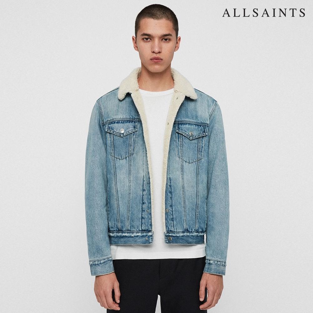 ALLSAINTS ILKLEY 保暖柔軟毛領羊毛牛仔夾克外套-靛青