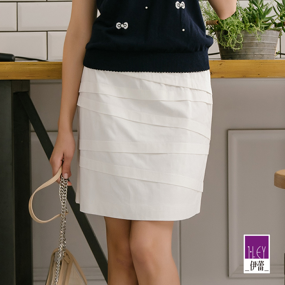 ILEY伊蕾 層次造型A字繃帶裙(白/灰/藍) @ Y!購物