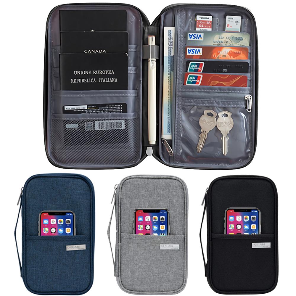 Leslie 雙外層口袋 機票手機收納 大容量多格 護照包證件夾 旅遊收納包