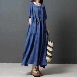 寬鬆藍色舒適素雅純色短袖棉麻洋裝M-2XL(共二色)-Keer