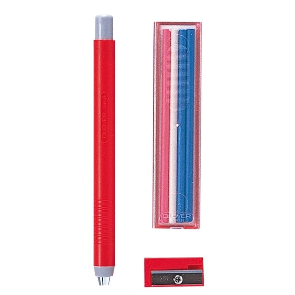 日本可樂牌Clover自動粉土筆組24-091粉筆(含粉土筆替芯4入和削鉛筆器)裁縫紉拼布記號消失筆