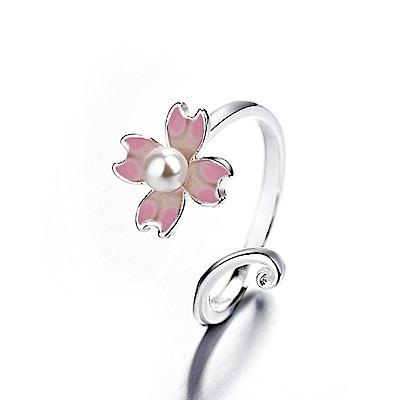 iSFairytale伊飾童話 春之櫻花 亮麗白銀銅鍍30銀開口戒指