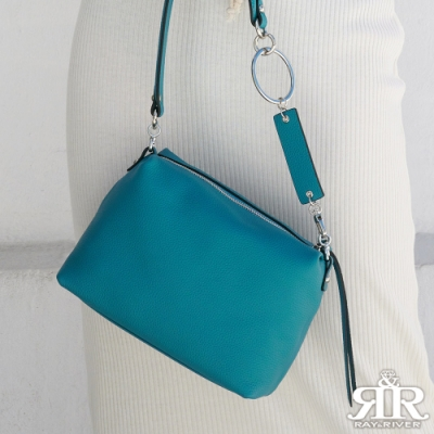 2R 頭層牛皮Ladies環釦背帶斜背名媛包 土耳其藍