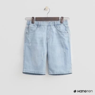 Hang Ten-童裝-隨興風牛仔短褲-淺藍