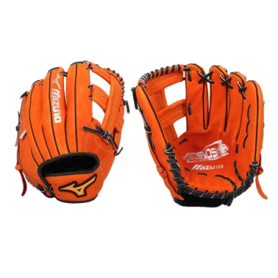 MIZUNO 壘球手套-內野手用-右投 美津濃 訓練 棒球 十字 1ATGS20900-51 橘黑