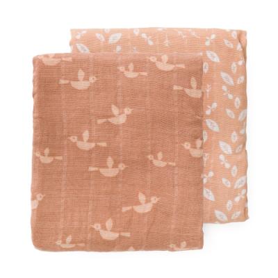 荷蘭 FRESK 有機棉嬰兒棉紗包巾2入組禮盒 (小小鳥)