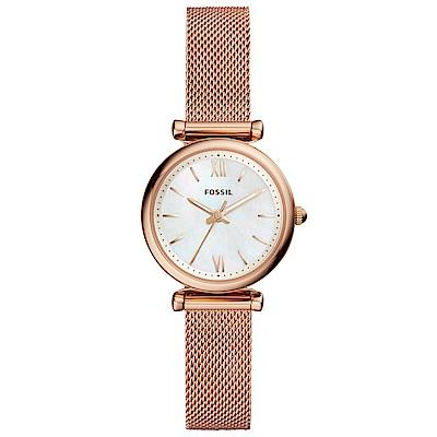 FOSSIL Carlie優雅彩貝米蘭帶手錶(ES4433)-玫瑰金/29mm