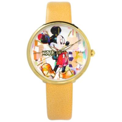 Disney 迪士尼 米奇系列 手繪塗鴉 兒童 卡通 皮革手錶-彩色x金框x黃/38mm