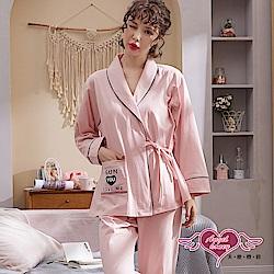 居家睡衣 暖陽愛戀 棉質二件式綁帶長袖孕婦月子套裝(粉F) AngelHoney天使霓裳