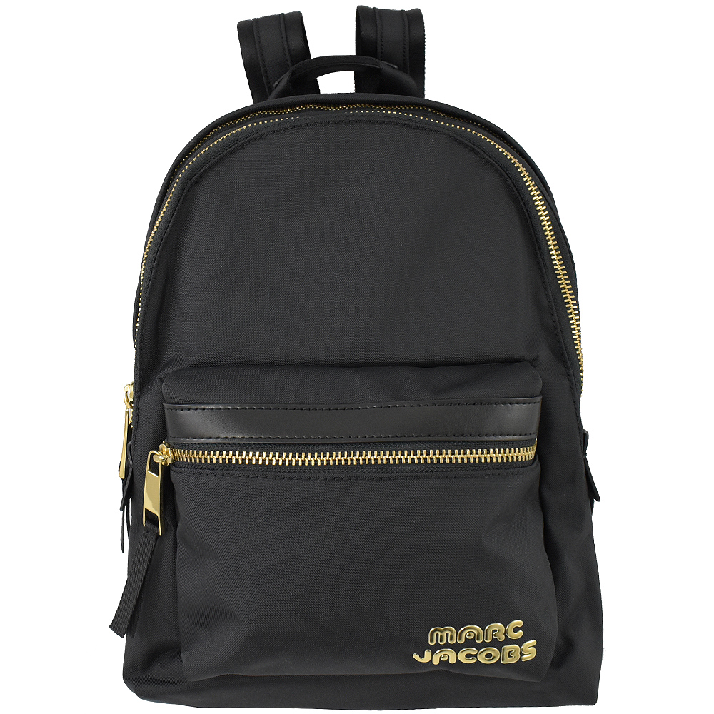 MARC JACOBS 經典拉鍊雙層帆布後背包(中/黑) @ Y!購物