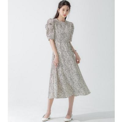 連身裙 氣質收腰豹紋五分袖洋裝RJ5021-創翊韓都