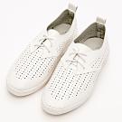 River&Moon文青時尚-超Q軟洞洞綁帶休閒便鞋-白