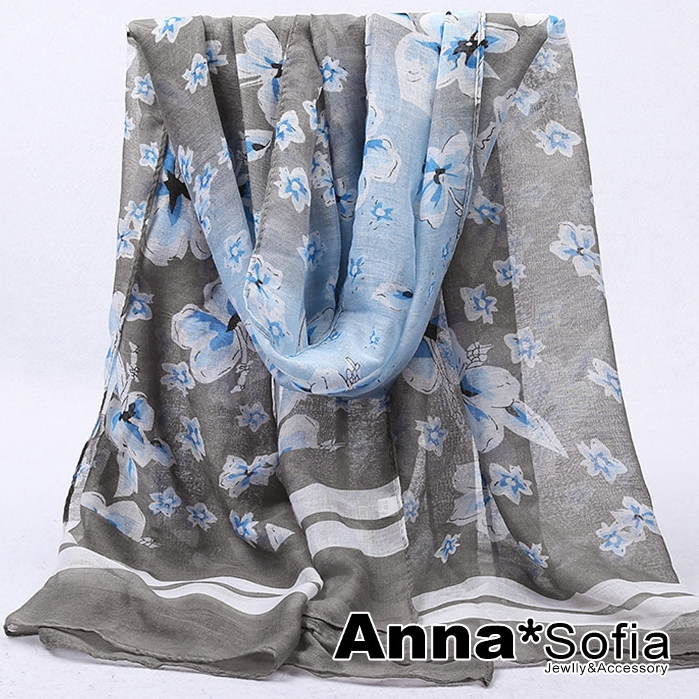 AnnaSofia 漸層落櫻邊線 巴黎紗披肩圍巾(藍灰系)