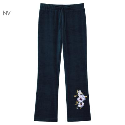 aimerfeel 刺繡絲絨長褲-海軍藍-857050-NV
