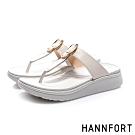 HANNFORT Ultra Comf 4D 羊皮五金厚底拖鞋-女-米
